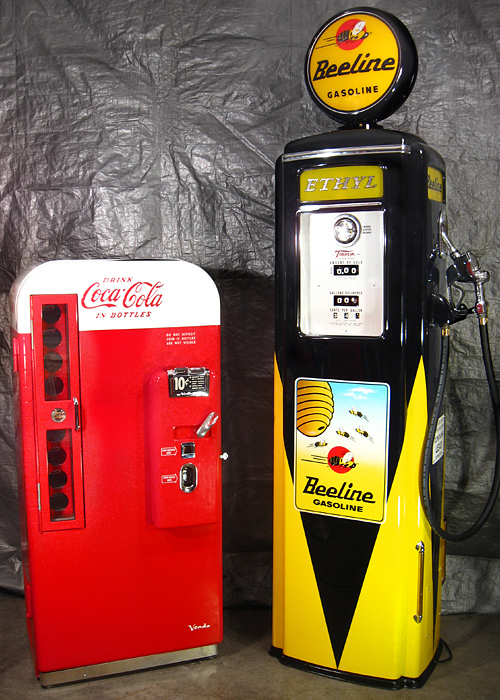 Tokheim 39 Tall Beeline Gas Pump And Coca Cola Vendo 81